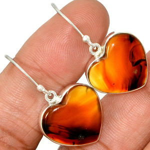 Jewelry - genuine Montana Agate Earrings solid 925 S Silver